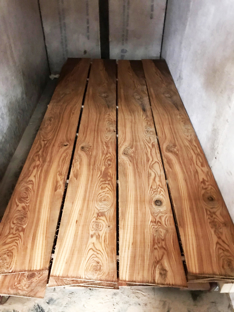 olive ash being dried in the kiln