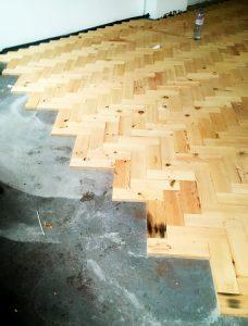 Douglas Fir parquet flooring, Camborne
