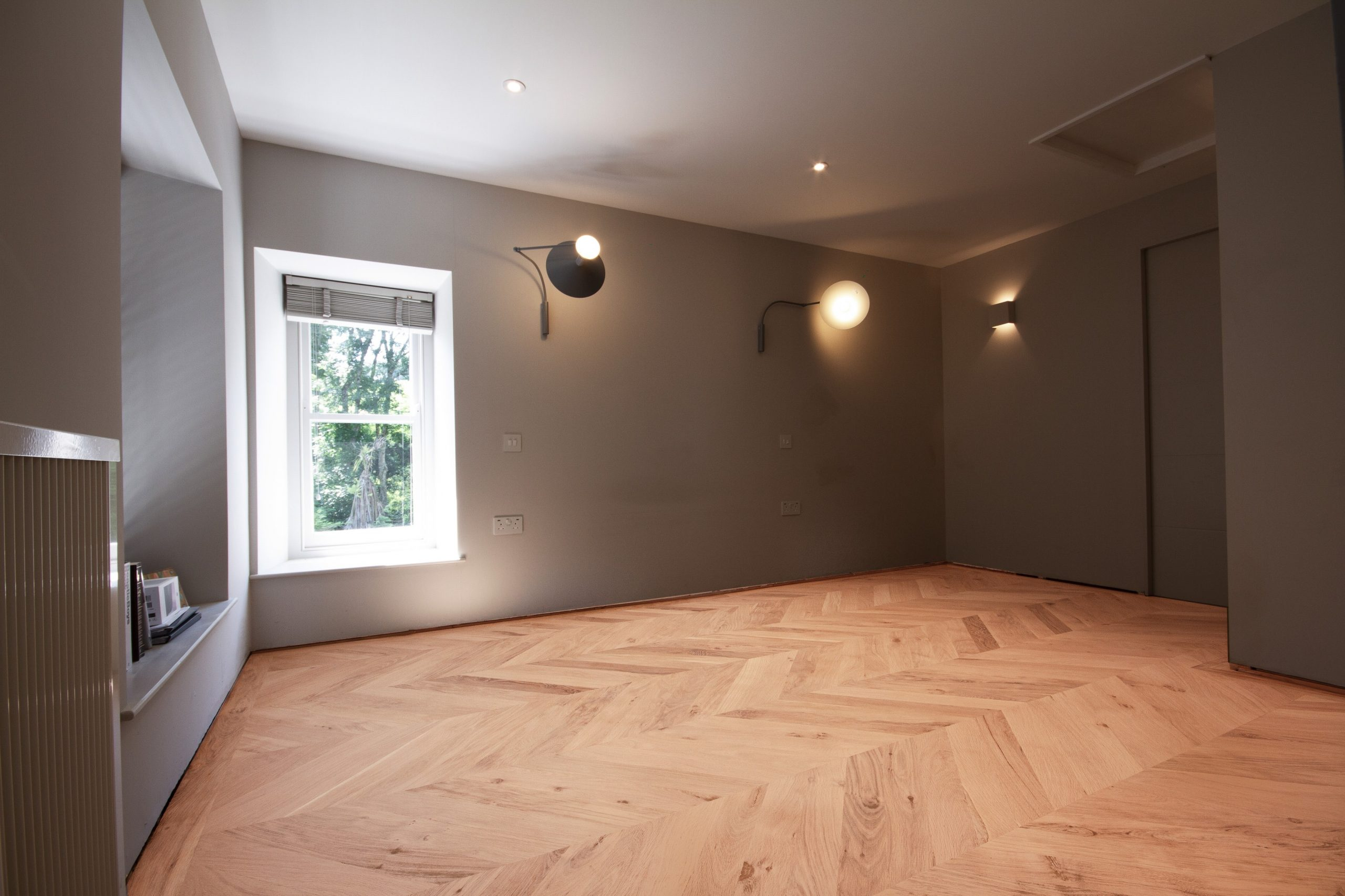 Oak chevron flooring installation